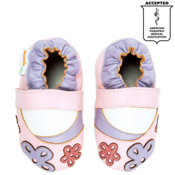 Momo Baby Girls Soft Sole Leather Crib Bootie Shoes - Scattered Daisy