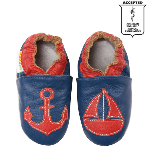 Momo Baby Boys Soft Sole Leather Crib Bootie Shoes - Anchors Away