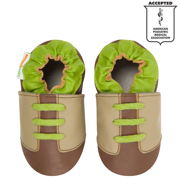 Momo Baby Boys Soft Sole Leather Crib Bootie Shoes - Contrast Sneaker