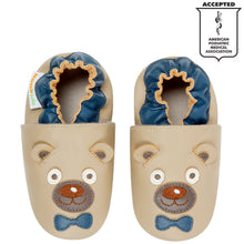 Momo Baby Boys Soft Sole Leather Crib Bootie Shoes - Mr. Bear