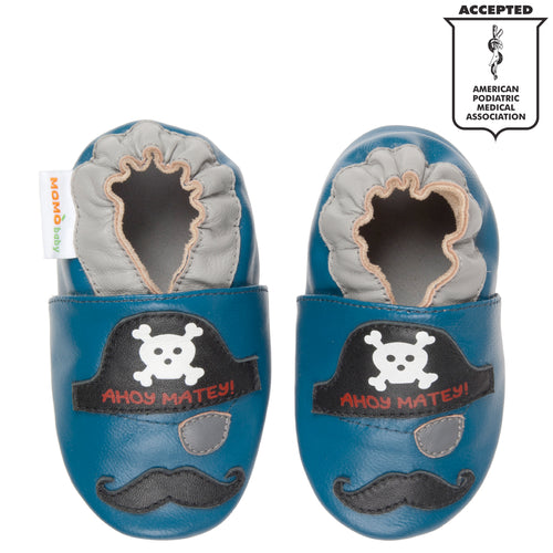 Momo Baby Boys Soft Sole Leather Crib Bootie Shoes - Pirate