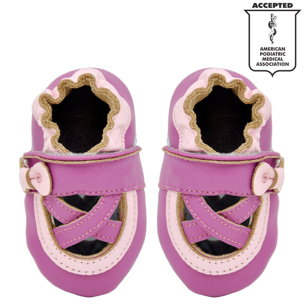 Momo Baby Girls Soft Sole Leather Crib Bootie Shoes - Ballerina