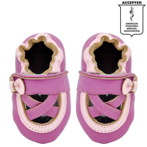 022c13498be Momo Baby Girls Soft Sole Leather Crib Bootie Shoes - Ballerina ...