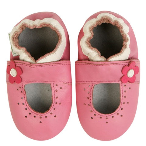 Momo Baby Girls Soft Sole Leather Crib Bootie Shoes -  Marigold