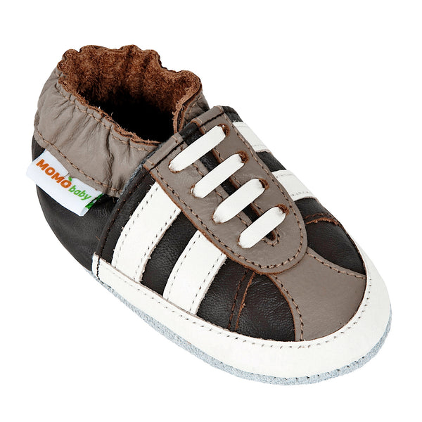 Momo Baby Boys Soft Sole Leather Crib Bootie Shoes - Striped Sneaker Brown