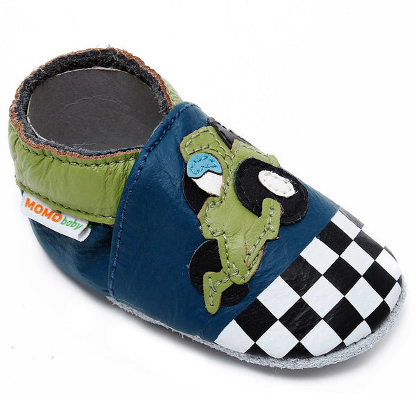 Momo Baby Boys Soft Sole Leather Crib Bootie Shoes - Race Car