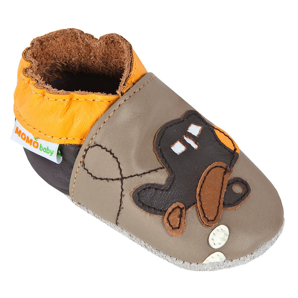 Momo Baby Boys Soft Sole Leather Crib Bootie Shoes - Airplane