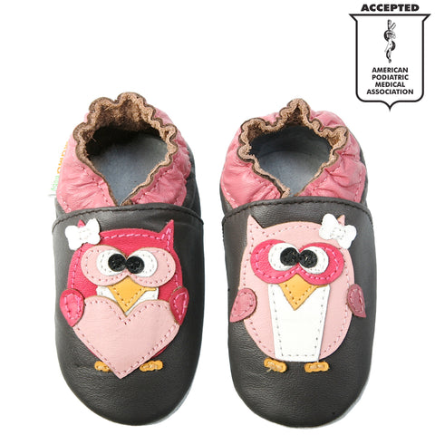 752bd12ba33 Momo Baby Girls Soft Sole Leather Crib Bootie Shoes - Pretty Owl ...