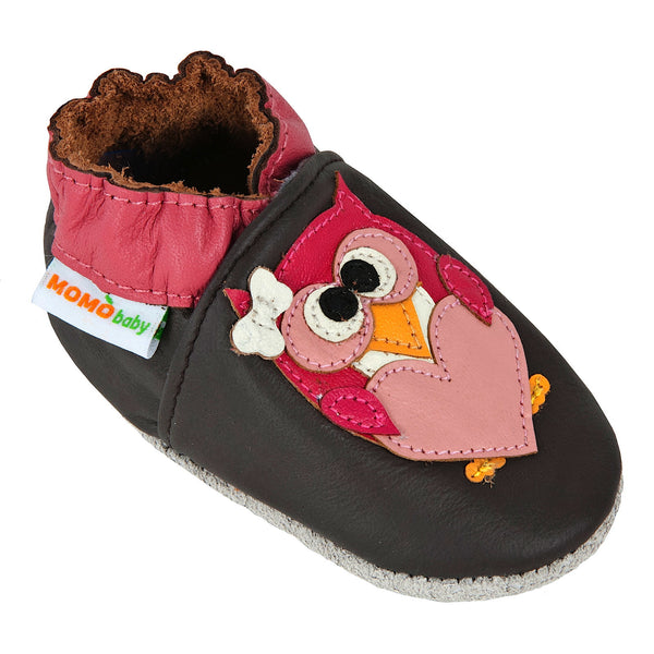 Momo Baby Girls Soft Sole Leather Crib Bootie Shoes - Pretty Owl