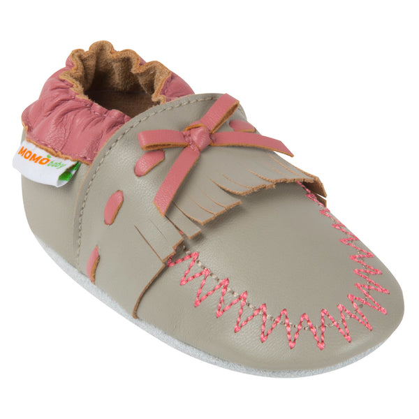 Momo Baby Girls Soft Sole Leather Crib Bootie Shoes - Moccasin