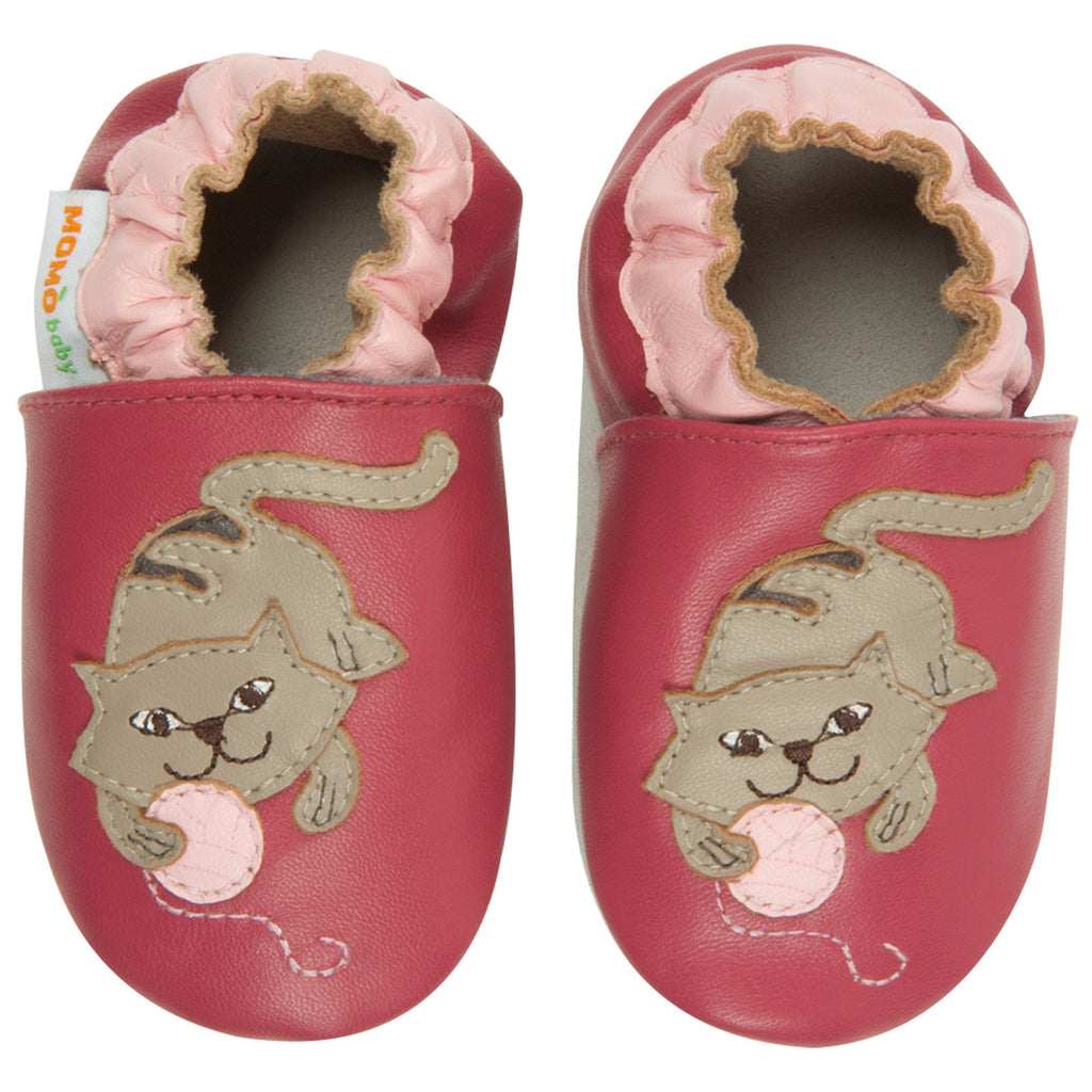 Momo Baby Girls Soft Sole Leather Crib Bootie Shoes - Cat