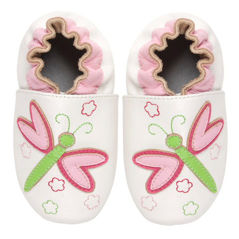 Momo Baby Girls Soft Sole Leather Crib Bootie Shoes - Dragonfly