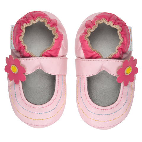 Momo Baby Girls Soft Sole Leather Crib Sandal Shoes - Rainbow Toes