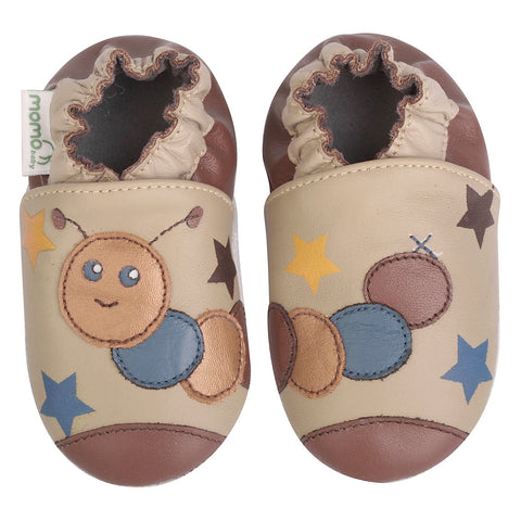 Momo Baby Girls Soft Sole Leather Crib Bootie Shoes - Caterpillar