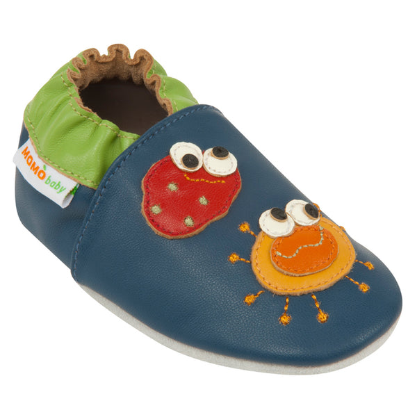 Momo Baby Soft Sole Leather Shoes - Germs Navy