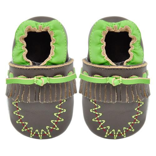 Momo Baby Soft Sole Leather Crib Bootie Shoes - Moccasin