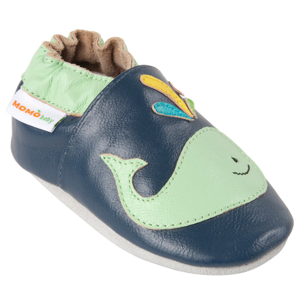 Momo Baby Boys Soft Sole Leather Crib Bootie Shoes - A Whale of a Time