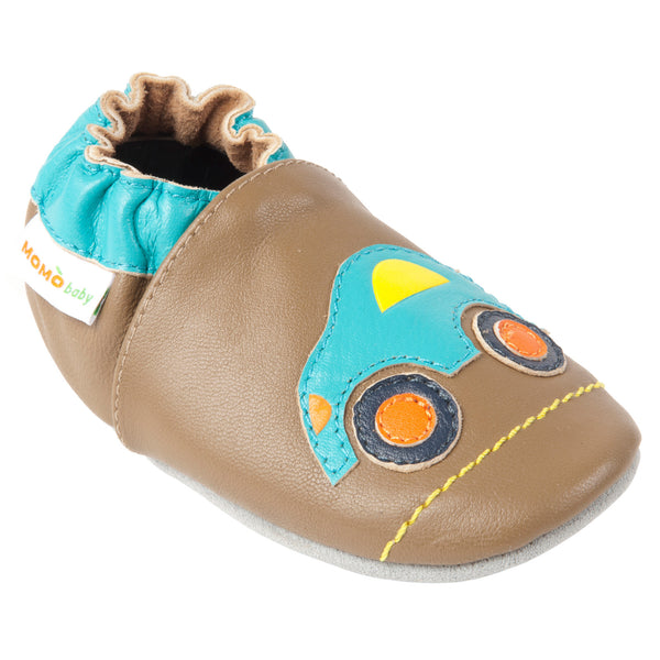 Momo Baby Boys Soft Sole Leather Crib Bootie Shoes - Road Trip