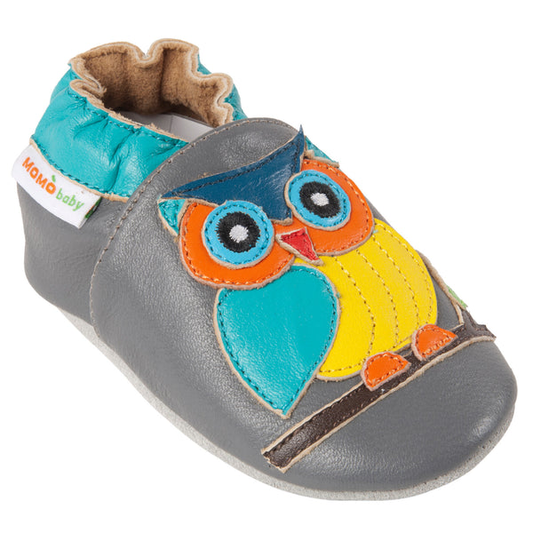 Momo Baby Boys Soft Sole Leather Crib Bootie Shoes - Wise Owl