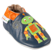 Momo Baby Boys Soft Sole Leather Crib Bootie Shoes - Gears Navy
