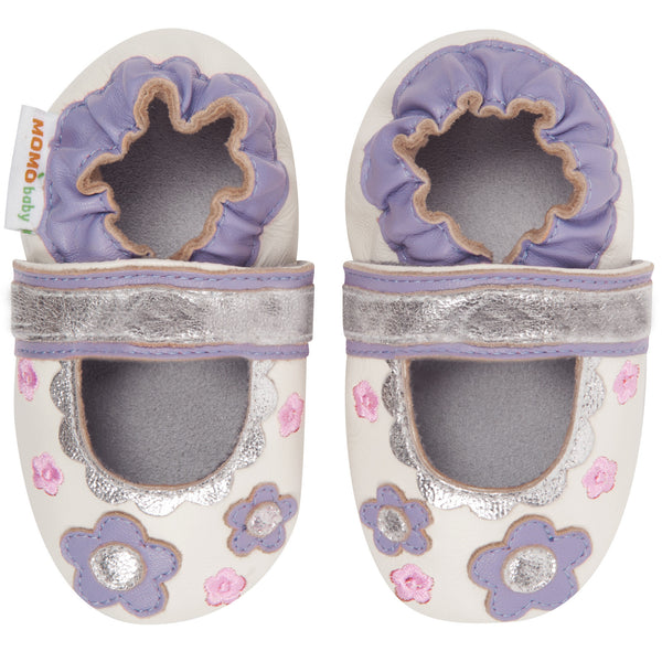 Momo Baby Girls Soft Sole Leather Crib Sandal Shoes - Flower Lace