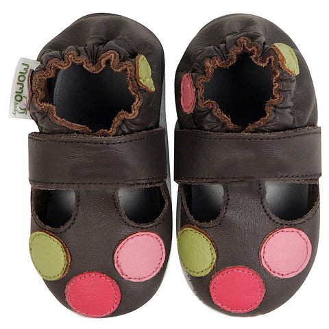 Momo Baby Girls Soft Sole Leather Crib Sandal Shoes - Polka Dots