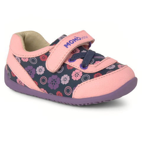 Momo Baby Girls' Sneaker Shoes - Heather Abstract Floral Pink/Purple (First Walker & Toddler)