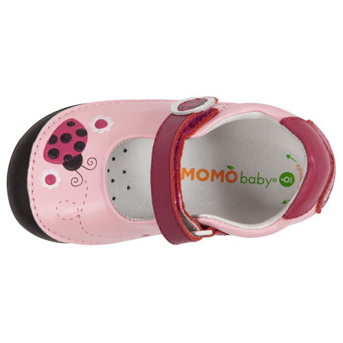 Momo Baby Girls Mary Jane Leather Shoes - Ladybugs Pink (First Walker & Toddler)