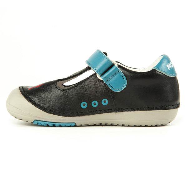 Momo Baby Boys T-Strap Leather Shoes - Train Black (First Walker & Toddler)