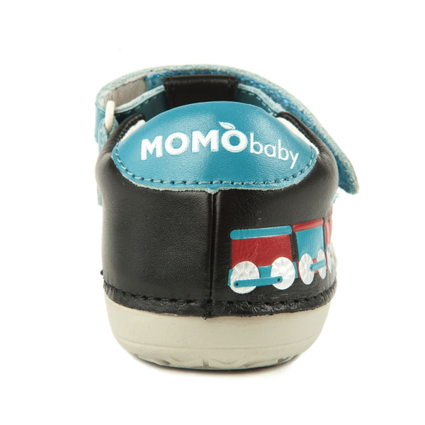 Momo Baby Boys First Walker Toddler Train T-Strap Leather Shoes