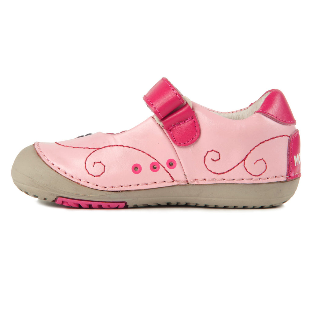 Momo Baby Girls Mary Jane Leather Shoes Flower Power Pink First