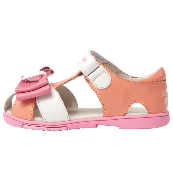 Momo Grow Girls Big Bow Leather Sandal Shoes (Toddler & Little Girl)