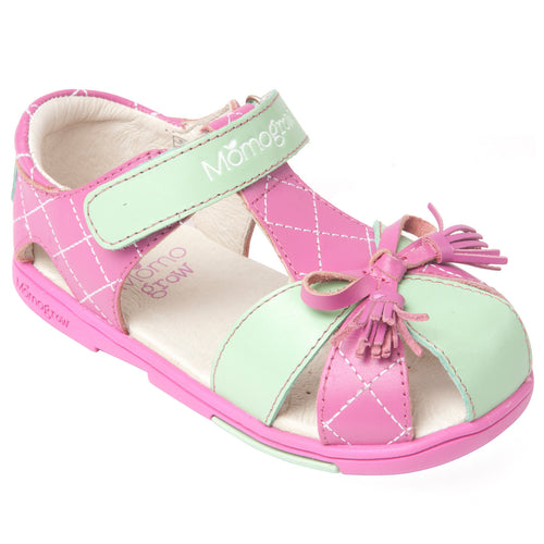 Momo Grow Girls Tassel Bow Leather Sandal Shoes (Little Girl)