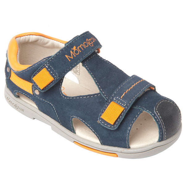 Momo Grow Double-Strap Leather Sandal Shoes (Toddler & Little Boy)