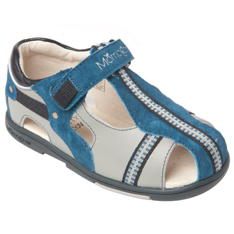 Momo Grow Cross-Strap Leather Sandal Shoes (Toddler & Little Boy)