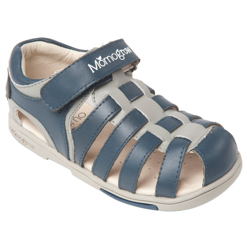 Momo Grow Boys Cross-Strap Leather Sandal Shoes