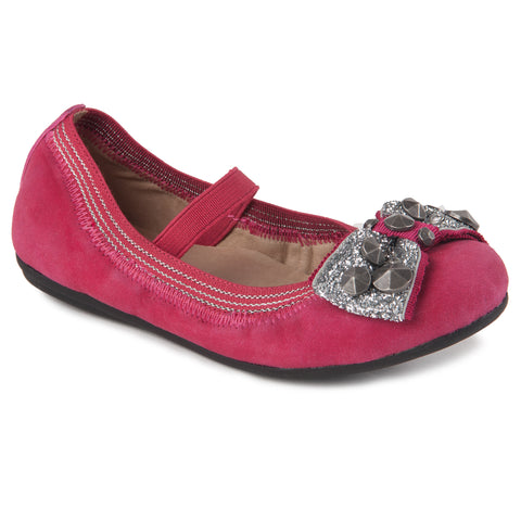 "Momo Grow Girls ""Katie"" Shimmer Bow Leather Ballet Flat Shoes (Toddler & Little Girl)"