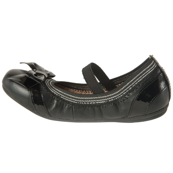 "Momo Grow Girls ""Kimi"" Black Leather Ballet Flat Shoes (Toddler & Little Girl)"