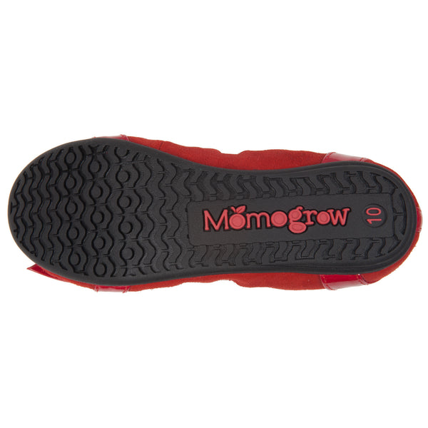 "Momo Grow Girls ""Kimi"" Red Leather Ballet Flat Shoes (Toddler & Little Girl)"