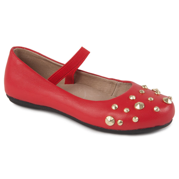 "Momo Grow Girls ""Nicki"" Red Studded Fashion Leather Ballet Flat Shoes"