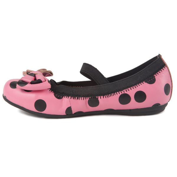 "Momo Grow Girls ""Emily"" Pink Polka Dot Leather Ballet Flat Shoes (Toddler & Little Girl)"