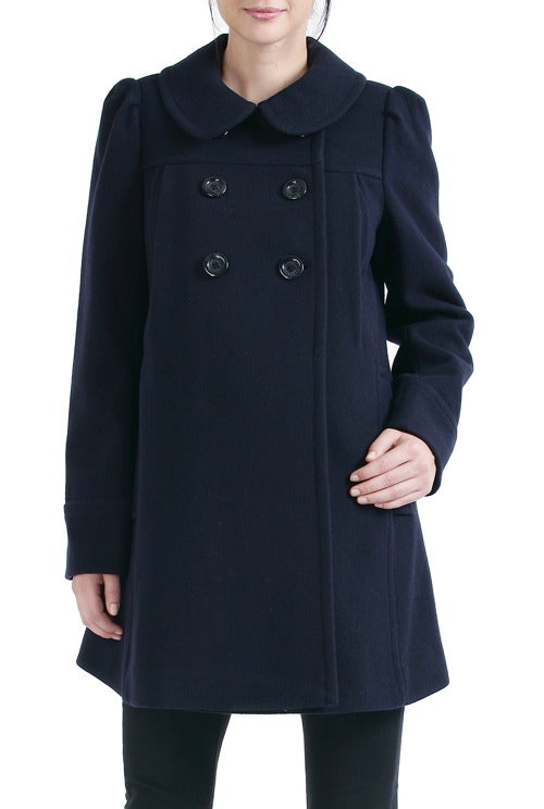 Momo Maternity Women's 'Natalie' Wool Blend Peter Pan Collar Coat