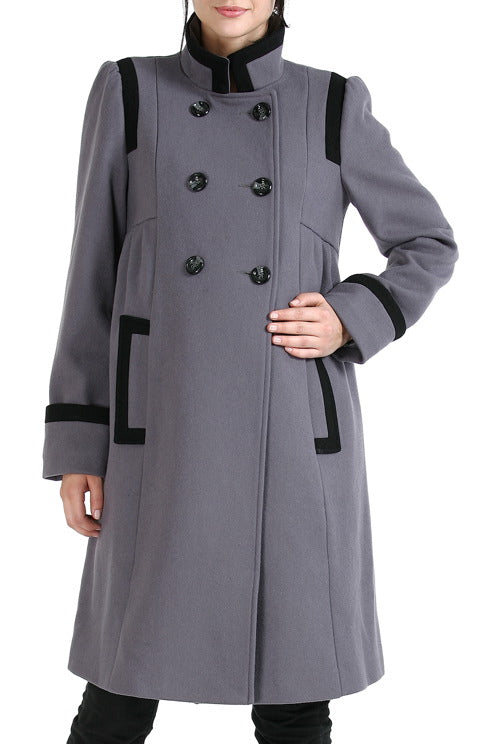 Momo Maternity Women's 'Madison' Double Breasted Wool Blend Coat