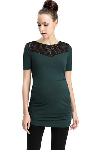 Momo Maternity Lace Insert Jersey Knit Top