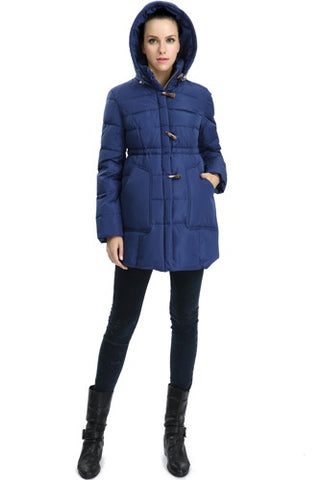 "Momo Maternity ""Marlo"" Hooded Toggle Down Parka Coat"