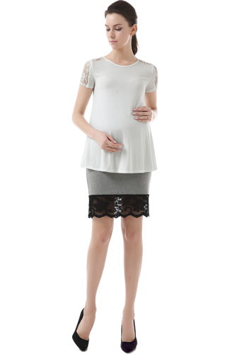 Momo Maternity Knee Length Lace Trim Fitted Skirt