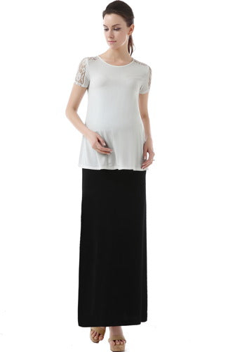 Momo Maternity Fold Over Waist Maxi Skirt