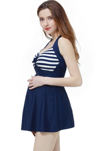 Momo Maternity UPF 50+ One Piece Halter Swimdress Bathing Suit