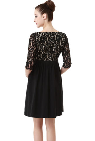 Momo Maternity Lace V-Neck Empire Waist Dress