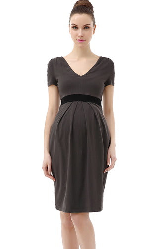 Momo Maternity Contrast Pleated Dress